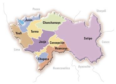 Mapa de Junín y sus provincias, capital Huancayo